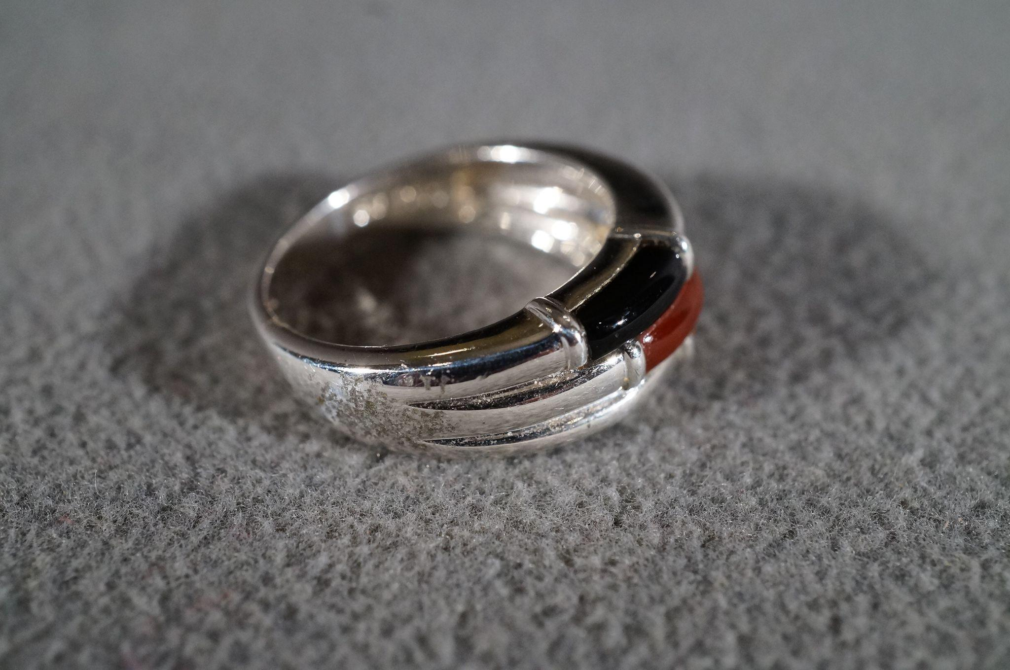 Ribbed Silver Stacked Ring