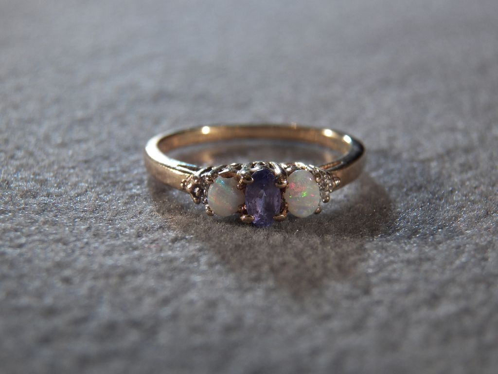stacking bands oval promise diamond engagement ring gold carat halo and tanzanite rose band