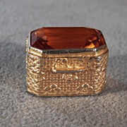 Vintage Italian Yellow Gold Rectangle Faceted Glass Stone Trinket Pill Box