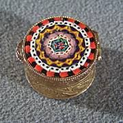 Vintage  Yellow Gold Tone Ornate Multi Colored Glass Micro  Mosaic Italian trinket pill box        W
