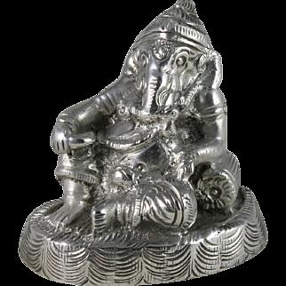 Vintage Ganesh Cast 800 Silver Figure Sculpture