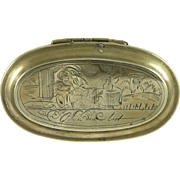 18th Century Dutch Brass Tobacco Box w/ Courting Couple