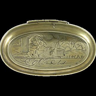 18th Century Dutch Brass Tobacco Box w/ Courting Couple