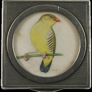 800 Silver Pill Box w/ Yellow Bird  Miniature Painting