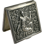 Art Deco Repousse Silver Compact Young Maiden Picking Wine Grapes Jugendstil
