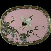 Japanese Cloisonne Fine Wire Enamel Dish w/ Crane