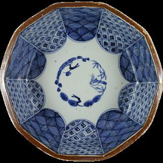 Japanese Arita Sometsuke Three Friends Of Winter Decagonal Bowl