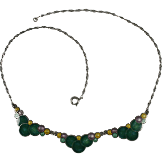 Vintage Sterling Art Deco Enamel Bubble Necklace