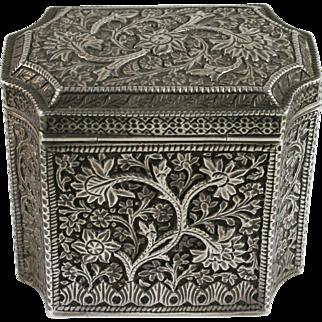 19th Century Indian Kashmiri Silver Box w/ Tree Of Life