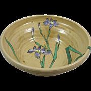 Vintage Japanese Kyoto Pottery Bowl w/ Iris Kyo-yaki