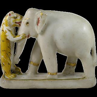19th Century Carved Alabaster Elephant & Tiger Sculpture India