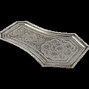 Antique Persian Qajar 84 Silver Qalam-Zani Tray Isafahan