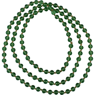 Chinese Qing Green Peking Glass Court Beads Necklace