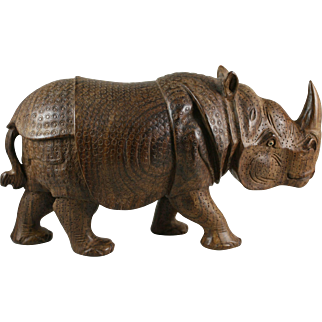 Carved Wood Rhinoceros Rhino India