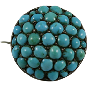 Persian Turquoise Cabochon Pave Dome Silver Pin