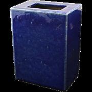 Vintage Chinese Pottery Pillow Vase Cobalt Blue
