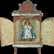 Vintage Mexican Wooden Nicho Niche Virgin Of Juquila Oaxaca