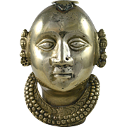Hindu Parvati Brass Gauri Head India