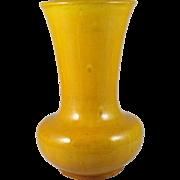 Japanese Awaji Pottery Vase Sanpei Kiln Amber Yellow