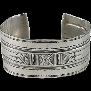 Vintage Taureg 900 Silver Men's Cuff Bracelet Morocco
