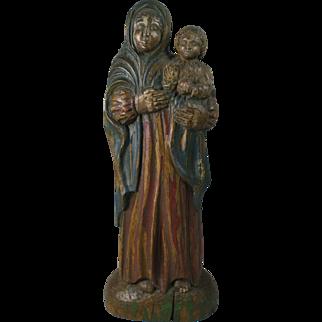 Vintage Wood Polychrome Santo Virgin Mary & Infant Of Prague Czech Republic