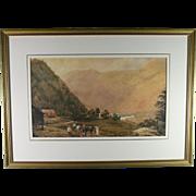 British Equestrian Landscape Watercolor On Paper