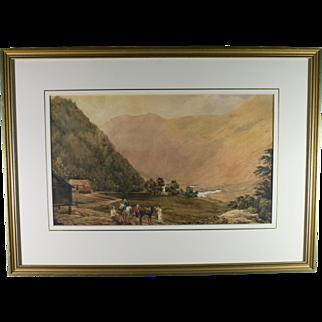 Vintage British Equestrian Landscape Watercolor On Paper