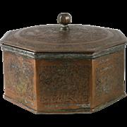 19th Century Persian Islamic Tinned Copper Octagon Box Iran