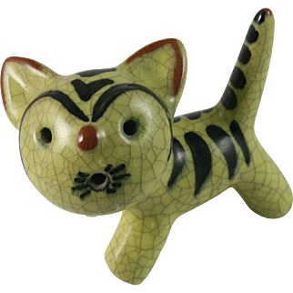 Walter Bosse Karlsruhe Majolica Ceramic Cat Germany