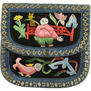 Chinese Qing Silk Embroidered Wallet Small Purse