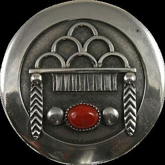 Frank Patania Sr. Sterling Red Coral Pin Thunderbird Shop