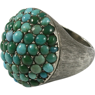 Persian Turquoise Cabochon Dome Silver Ring