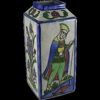 Iran Islamic Faience Tin Glazed Majolica Pottery Four Sided Vase