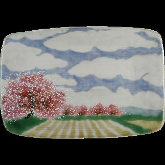 Japanese Pottery Tray Cherry Blossom Trees Glazed Terracotta Plate
