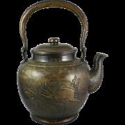 Japanese Meiji Copper Tea Kettle Yakan