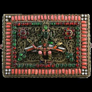 Nepal Brass Box Filigree w/ Coral Inlay Red Tara