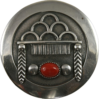 Frank Patania Sr. Sterling Red Coral Pin