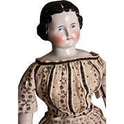 """Lovely Antique Civil War Era 23"""" China Shoulder Head Doll, w/ Corset & Leather Arms, Hands"""