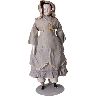 "Beautiful 17"" Covered Wagon China Shoulder Head Doll, Ca. 1860s"