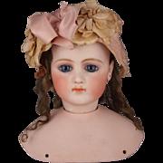 Magnifique! Jumeau Portrait Fashion Poupee Bisque Head Size 8, Circa 1870
