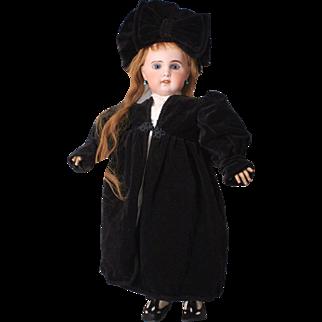 Gorgeous Black Velvet Coat & Black Velvet Hat with Large Bow