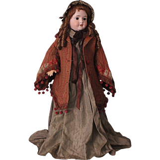 Vintage Wool Paisley Coat for Large Size Bisque Dolls