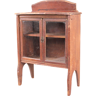 Antique Miniature China Cabinet with Glass-Pane Doors