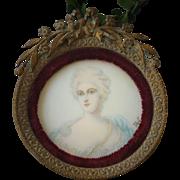 19th C. French Portrait Miniature of Madame Pompadour by Tegil