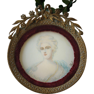 19th C. French Portrait Miniature of Madame Pompadour by Tegil
