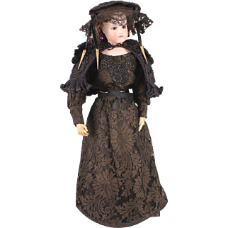 "Stunning Black Antique Lace Four-Piece Outfit for 19"" - 21"" Fashion Doll"