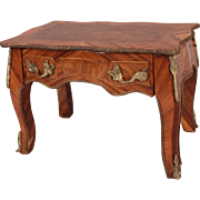 Antique Salesman's Sample Inlaid Wood Library Table with Gilt Trim