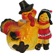 Vintage Thanksgiving Chalkware Planter Turkey and Native American Girl