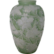 1920s Green Consolidated Glass Dogwood Vase