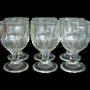 Antique EAPG McKee Honeycomb Diamonds Goblet Set of 6